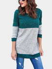 Green Crew Neck Long Sleeves Patchwork Design Sweater