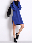 Blue Slouchy Jumper Dress with Side Slits