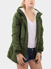 Army Green Drawstring Waist Thicken Padded Outerwear with Hood Design
