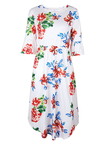 White Floral Print Round Neck Flared Sleeves Midi Dress