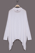 White Cowl Neck Bat Shirt with Side Split