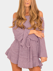 Purple Off The Shoulder Bell Sleeves Mini Dresses with Belt