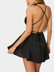 Plunging Neckline Sleeveless Self-tie Open Back Playsuit