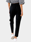 Black Drawstring Elasticized Waistband High Waist Pencil Pants