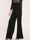 Black Flounced Detail Wide Leg Drawstring Waist Pants