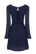 Navy Bell Sleeve Reveal Back Dress