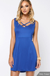 Plunge Cross Front Hollow Out Backless Dress