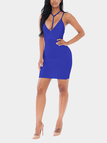 Blue Deep V Neck Lace-up Dress