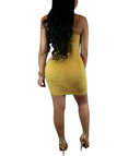 Yellow Lace-up Front Sleeveless Bodycon Hem Dresses with Thin Shoulder Straps