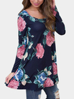 Navy Floral Print Scoop Neck Backless Mini Dresses