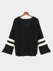 Black Flared Sleeves Causal Blouse