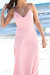 Pink Sexy V-neck Backless Beach Maxi Dress With Cami Strap