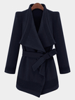 Waterfall Trench Coat in Navy with Belt
