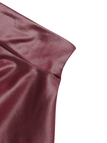 Dark Red Leather Look Skater Skirt With Back Elastic Band