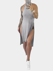 Grey Sexy Splited Design Dress