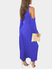 Blue Deep V-neck Cold Shoulder Flared Sleeves High Waist Jumpsuit