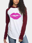 Burgundy Raglan sleeves Rose Lipstick Print Pattern Hooded Top
