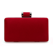 Velvet Box Clutch Bag in Red