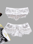 White Lace Lingerie Sets With Pleated Design