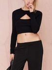 Black Sexy Cross Front Hollow Design Pullover Jumper