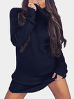 Navy Sexy High Neck Long Sleeves Knit Casual Dress