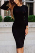 Black Casual Bodycon Fit Long Sleeves Midi Length Dress