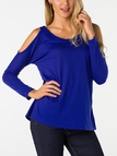 Blue Round Neck Cold Shoulder Long Sleeves T-shirt