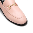 Pink Classic Leather Look Metal Clasp Slip-on Loafers