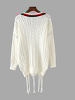 Hollow Out Classic Cable Knit Sweater with Strappy