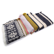 Navy Stripe Snowflake Pattern Warp Scarf with Tassel Detail