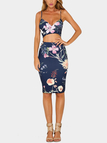 Random Floral Print Cut Out Bodycon Dress