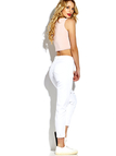 White Skinny Ripped Jeans with Middle-waisted
