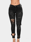Black Fashion Style Random Ripped Jeans