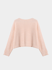 Pink Twist Design Round Neck Crop Top Jumpers
