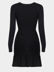 Black Cross Front Elastic Design Flounced  Detail Sweater Dress