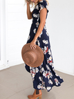 Random Floral Print Wrap Front Sexy V Neck Maxi Dress