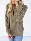 Khaki Side Pockets Long Sleeves Loose T-shirt