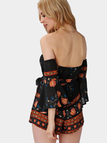 Random Floral Print Off-shoulder Backless Flared Sleeves Sexy Playsuit