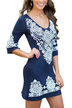 Blue Random Floral Print Round Neck Long Sleeves Dress