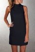 Black High Neck Sleeveless Mini Dress