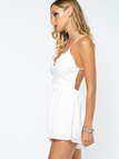 Semi Sheer Sleeveless Open Back Elastic Waist Playsuit with Lace Details