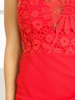 Red Lace Details Crew Neck Sleeveless Mini Dress