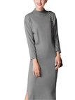 Grey Knitted Midi Basic Dress