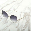 Aviator Flash Grey Lens Cat Eyes Sunglasses In Gold Metal
