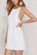 White Shift Dress With Lace-Up Back