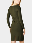 Dark Green Bodycon Knitted Mini Dress with Tie Waist