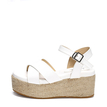 White Cross Front Woven Platfrom Sandals