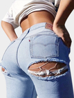 Retro Butt Rips Details Jeans in Light Blue