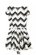 White Chevron Print V Neck Pleated Cap Sleeve Playsuit