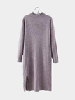 Robe pull manches longues prune avec ourlet fendu
